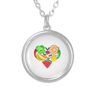 heart healthy foods round pendant necklace