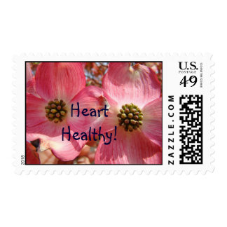 Heart Healthy! postage stamps Pink Floral Flowers