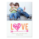 """Heart Heart A7 Valentines Day Photo Card - PINK 5"""" X 7"""" Invitation Card"""