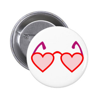 Heart hearts rose-pink eyeglasses rose colored button