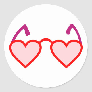 Heart hearts rose-pink eyeglasses rose colored gla classic round sticker