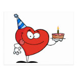 Heart Holding Birthday Cake Post Card