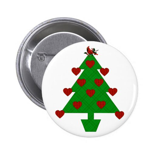 Heart Holiday Tree 2 Inch Round Button