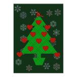"""Heart Holiday Tree 5"""" X 7"""" Invitation Card"""