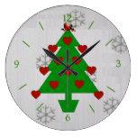 Heart Holiday Tree Clocks