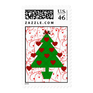 Heart Holiday Tree Postage Stamp