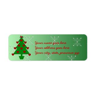 Heart Holiday Tree Return Address Labels