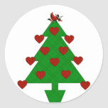Heart Holiday Tree Round Sticker