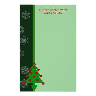 Heart Holiday Tree Custom Stationery