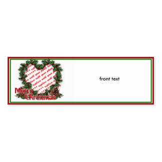 Heart Holly Wreath Merry Christmas Photo Frame Business Card