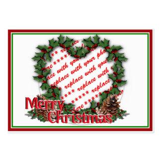 Heart Holly Wreath Merry Christmas Photo Frame Business Card Template