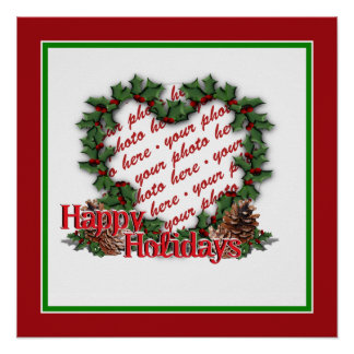 Heart Holly Wreath Photo Frame Poster