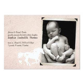 Heart Horse Baby Girl Birth Announcement