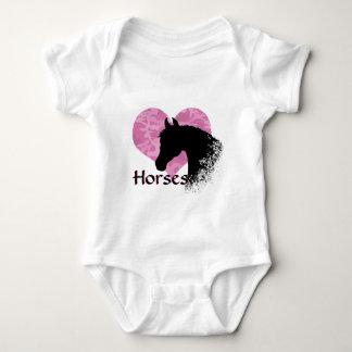 Heart Horse III (pink camo) Baby Bodysuit
