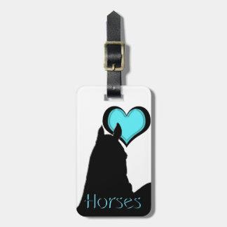 Heart Horses I Aqua Heart (white background) Bag Tag
