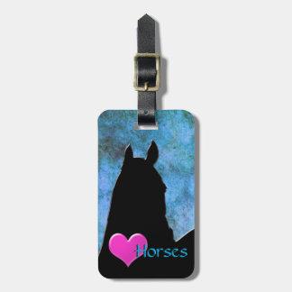 Heart Horses I (blue/green) Bag Tag