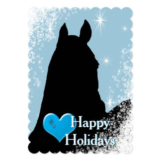 Heart Horses I Holiday (blue) Card