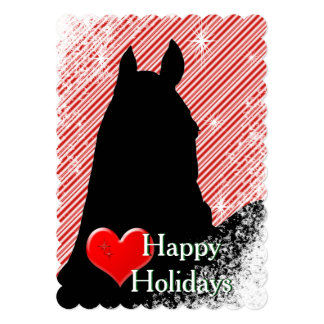 Heart Horses I Holiday (Candy Cane Bkgrd) Card