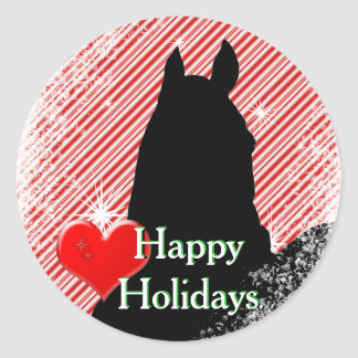 Heart Horses I Holiday (Candy Cane Bkgrd) Classic Round Sticker