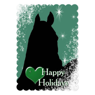Heart Horses I Holiday (green) Card