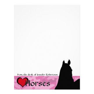 Heart Horses I (pink camo background) Letterhead