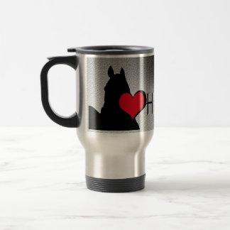 Heart Horses I Red Heart (silver metallic) 15 Oz Stainless Steel Travel Mug