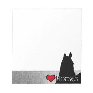 Heart Horses I Red Heart (silver metallic) Notepad