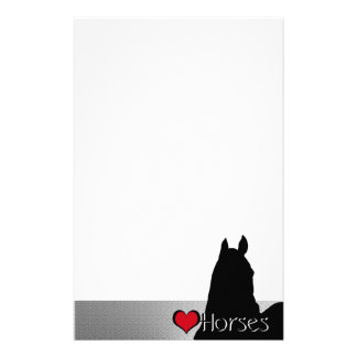 Heart Horses I Red Heart (silver metallic) Stationery