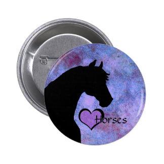 Heart Horses II (purple/blue) Button