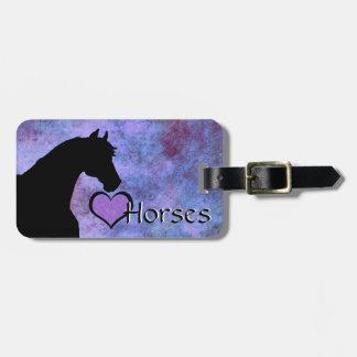 Heart Horses II (purple/blue) Luggage Tag