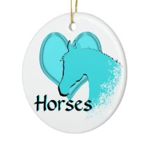 Heart Horses III (aqua) Ceramic Ornament