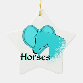 Heart Horses III (aqua) Ceramic Ornament