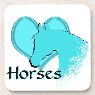Heart Horses III (aqua) Drink Coaster