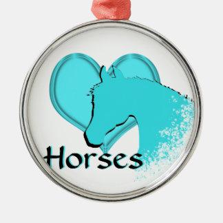 Heart Horses III (aqua) Metal Ornament
