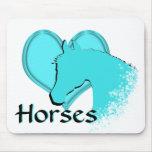 Heart Horses III (aqua) Mouse Pad