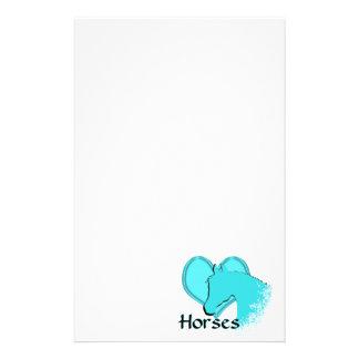 Heart Horses III (aqua) Stationery