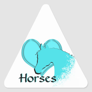 Heart Horses III (aqua) Triangle Sticker