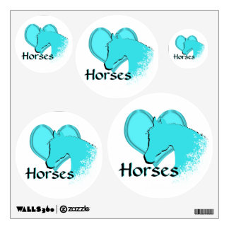 Heart Horses III (aqua) Wall Decal