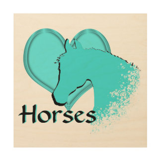 Heart Horses III (aqua) Wood Wall Art