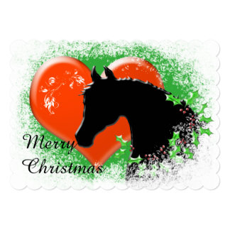 Heart Horses III Holiday (Black Horse/Red Heart) Card
