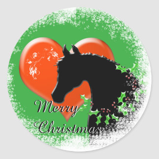 Heart Horses III Holiday (Black Horse/Red Heart) Classic Round Sticker