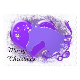 Heart Horses III Holiday (Purple Horse/Heart) Card