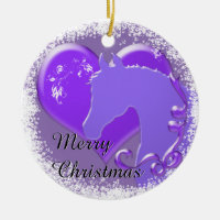 Heart Horses III Holiday (Purple Horse/Heart) Ceramic Ornament