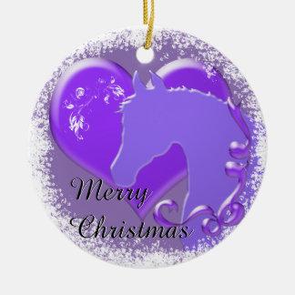 Heart Horses III Holiday (Purple Horse/Heart) Ceramic Ornament