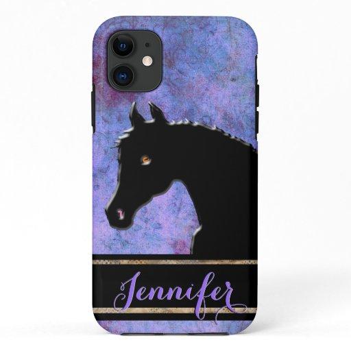 Heart Horses III (purple/blue) iPhone 11 Case