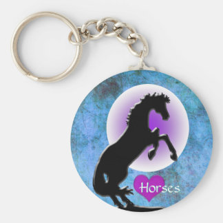 Heart Horses V (blue/green) Basic Round Button Keychain