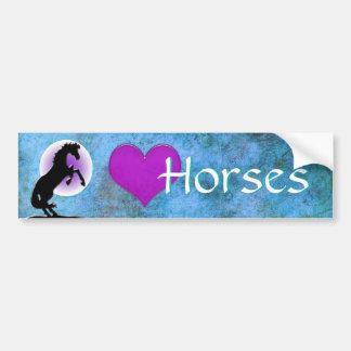 Heart Horses V (blue/green) Bumper Sticker