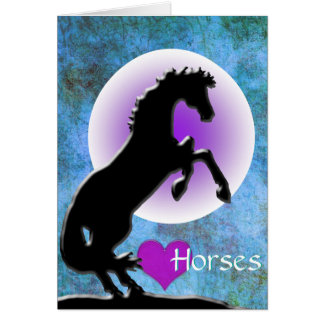 Heart Horses V (blue/green) Card
