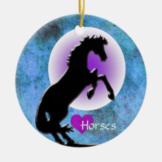 Heart Horses V (blue/green) Ceramic Ornament