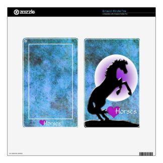 Heart Horses V (blue/green) Decals For Kindle Fire